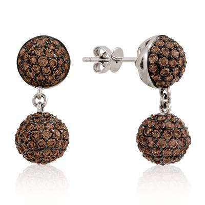 18K Vanilla Gold® Earrings with Chocolate Diamonds® 4 cts. | YOKJ 2